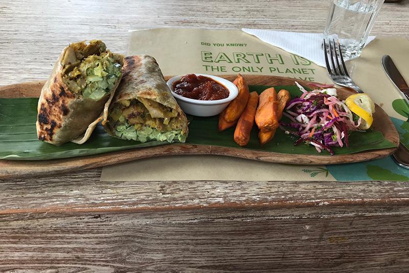 Vegan meal at Earth Cafe, Bali