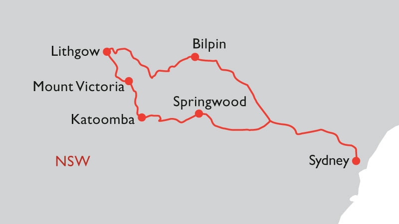blue mountains road trip map from sydney