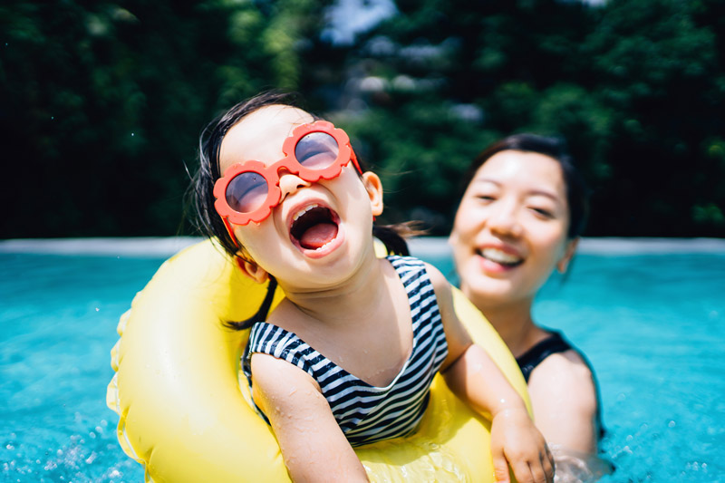 pack pool floaties for kids on holiday