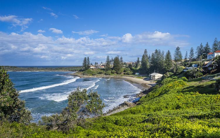 yamba beach and coastal vista