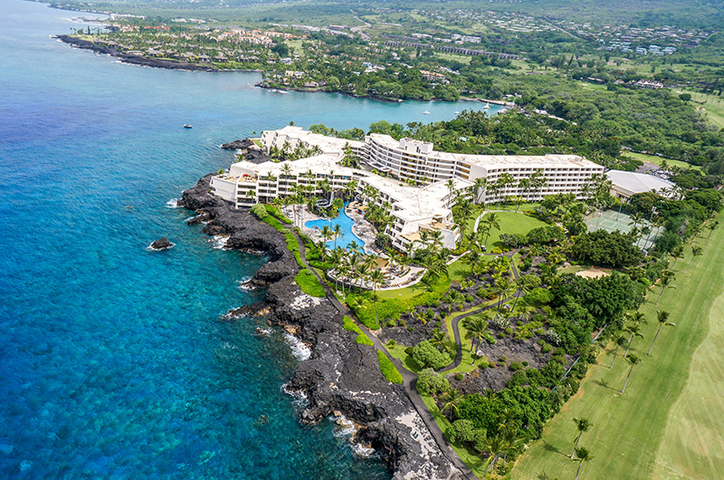 An aerial view of the Sheraton Kona Resort & Spa at Keauhou Bay