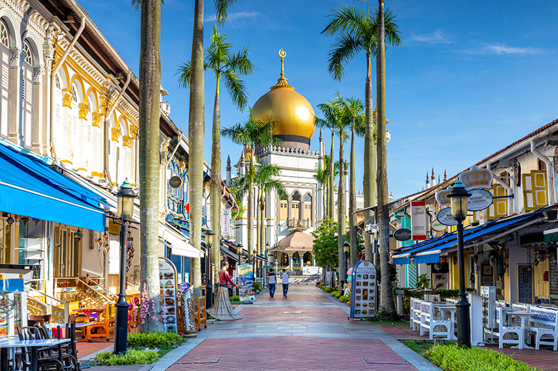 A view of the Sultan Mosque in Kampong Glam neighbourhood