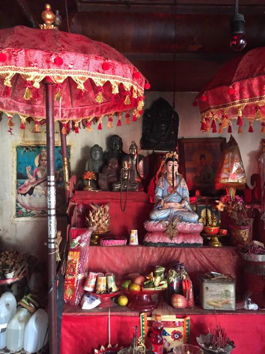 Interior of home of Bali healer