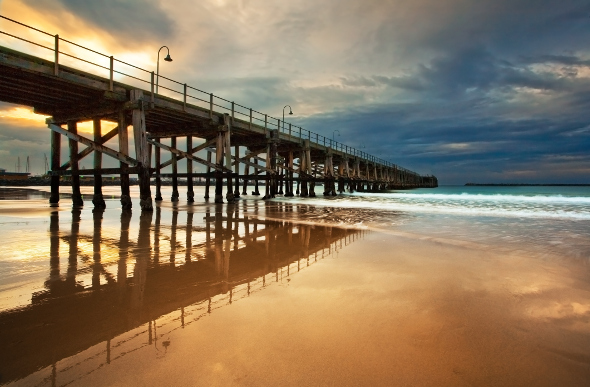 The jetty and beach at Coffs Harbour, New South Wales.