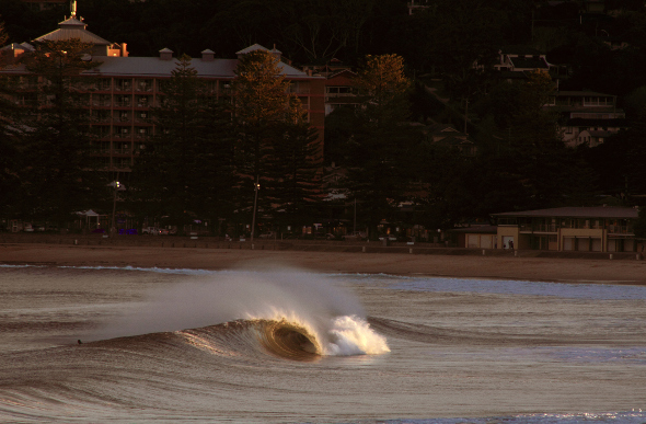 Waves roll in at the Central Coast town of Terrigal, New South Wales.