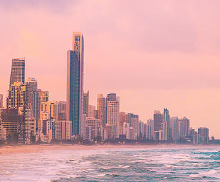 Gold coast skyline at sunset