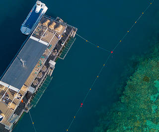Aerial shot of Reefworld Pontoon on Great Barrier Reef
